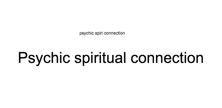 psychic spiritual connection
