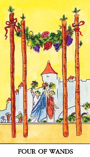 Free Online Four Of Wands Card